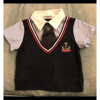ニシマツヤ(西松屋)のベビー フォーマル シャツ 80 ネクタイ付き(セレモニードレス/スーツ)