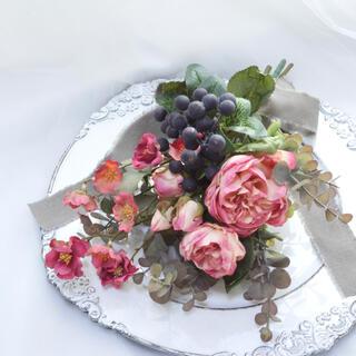 ドライフラワー風ローズとベリーの造花スワッグ アンティーク 母の日 光触媒(その他)