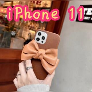 【ブラウン】iPhone スマホ ケース リボン レザー フェイクレザー