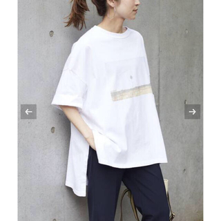 フレームワーク(FRAMeWORK)のフレームワーク フォトプリントアシメTシャツ ホワイト 新品 2021SS 完売(Tシャツ(半袖/袖なし))