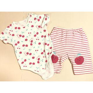 アカチャンホンポ(アカチャンホンポ)の半袖パジャマ  ロンパース さくらんぼ柄 80サイズ(パジャマ)