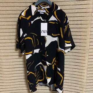 ZARA - 新品未使用 ZARA ザラ 花柄 オープンカラーシャツ 半袖 L