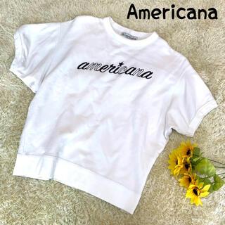 アメリカーナ(AMERICANA)のAmericana アメリカーナ 半袖Tシャツ ロゴ スウェット ドルマン(Tシャツ(半袖/袖なし))