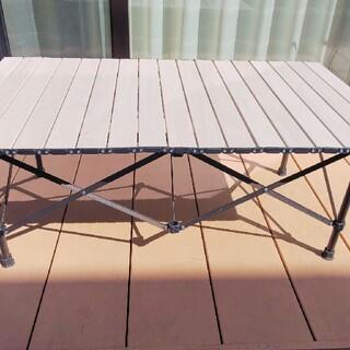 アウトドアテーブル アルミ 2way 100 ウッドパターン(アウトドアテーブル)