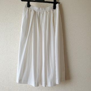 エリオポール(heliopole)のエリオポール 白 フレアスカート ウエストゴム 綿ツイル(ロングスカート)