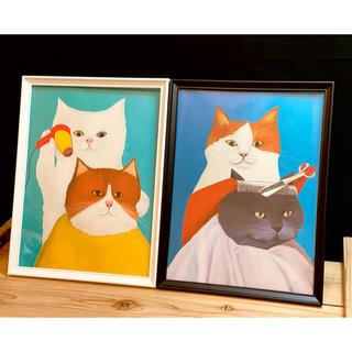 アートフレーム ネコ 猫 絵画 キャンバス 絵 ポスター リトグラフ 08,09(ポスターフレーム)