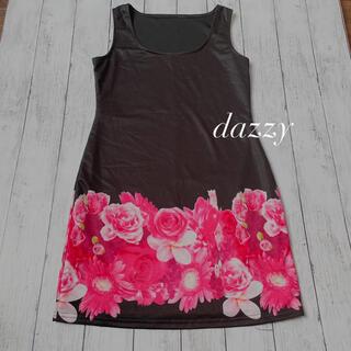 デイジーストア(dazzy store)のデイジー ブラック 花柄ワンピース レディー風 (ミニドレス)