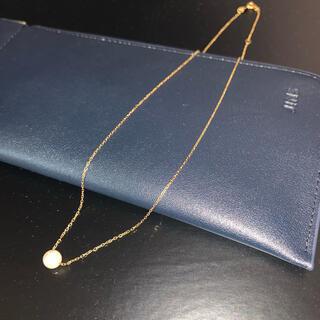 k18 小豆チェーン  ネックレス パール 真珠 イエローゴールド(ネックレス)