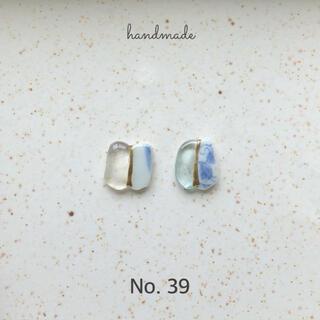 No.39 シー陶器×シーグラス 金継ぎ風ピアス/イヤリング(ピアス)