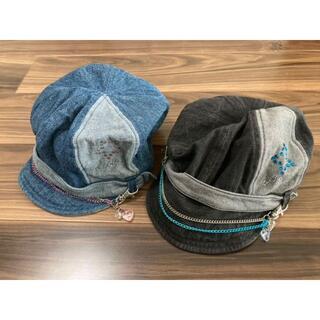 ハヤシ帽子 デニムキャップ チャーム付 56センチ 2個セット(帽子)