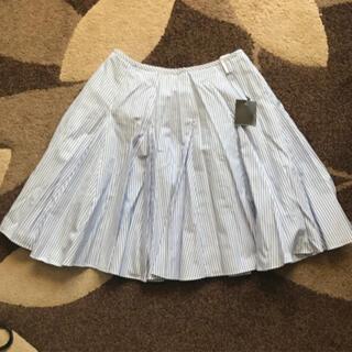 オペーク(OPAQUE)のフレアスカート ストライプ ブルー オペーク  新品(ひざ丈スカート)