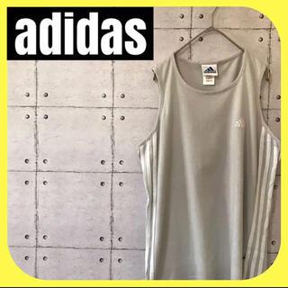 アディダス(adidas)のadidasアディダス •タンクトップ•ノースリーブ•グレー•サイドライン•M(タンクトップ)