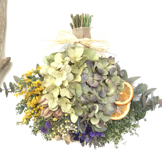 yellow×purple ミモザ×2色の紫陽花のドライフラワースワッグ(ドライフラワー)