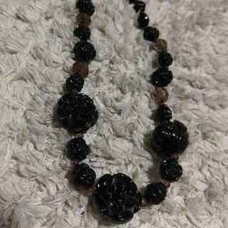 エムズグレイシー(M'S GRACY)のエムズグレイシー ネックレス バラ 黒 新品未使用(ネックレス)