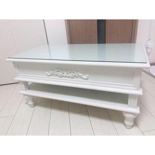 【1点物】ロココ 天板引き出しセンターテーブル アンティークホワイト Ⅰ(ローテーブル)