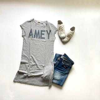 アメリカーナ(AMERICANA)のアメリカーナ ロングカットソー ワンピース AMEY グレー 半袖 ロゴ(Tシャツ(半袖/袖なし))