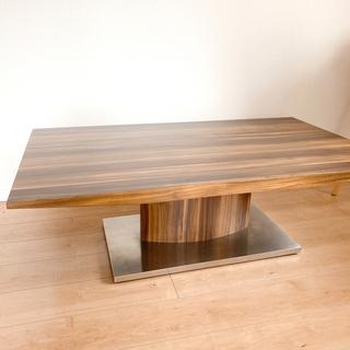 木製プリント×ステンレス ローテーブル