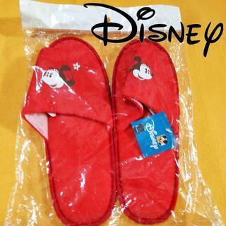 ディズニー(Disney)のディズニーDISNEYミニーマウススリッパ赤【未使用未開封】赤い帽子に花ミニー(その他)