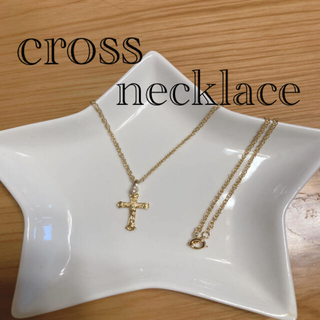 キワセイサクジョ(貴和製作所)のクロスネックレス 男女共用 ゴールド色 51センチアジャスターはなし(ネックレス)