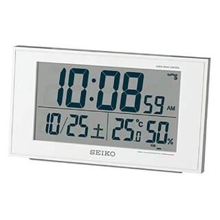 セイコー(SEIKO)のSEIKO デジタルクロック 置き時計 カレンダー 快適度 温湿度表示 白パール(置時計)
