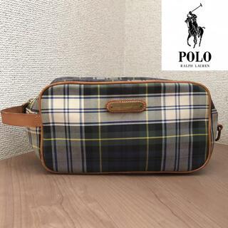 ポロラルフローレン(POLO RALPH LAUREN)の90s POLO RALPHLAUREN タータンチェック セカンドバッグ 鞄(セカンドバッグ/クラッチバッグ)