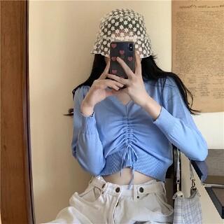 GOGOSING - ショート丈 韓国 ライトブルー セクシー カーディガンゴゴシング 新品未使用