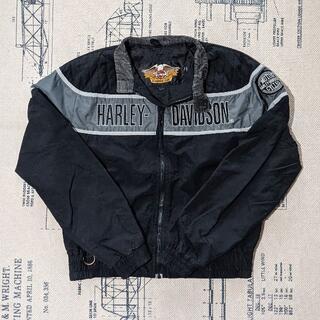 ハーレーダビッドソン(Harley Davidson)のHARLEY DAVIDSON ジャケット ブラック 90s ビッグロゴ 刺繍(ライダースジャケット)