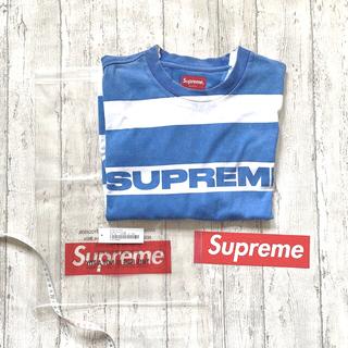 シュプリーム(Supreme)のPrinted Stripe S/S Bright Blue(Tシャツ/カットソー(半袖/袖なし))