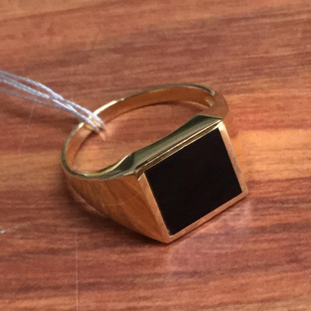 K18 オニキス メンズリング メンズのアクセサリー(リング(指輪))の商品写真