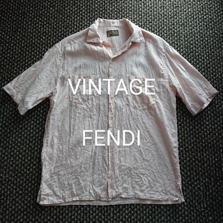 フェンディ(FENDI)のビンテージ FENDI アイコン刺繍 リネン半袖シャツ ミリタリーシャツ グッチ(シャツ)