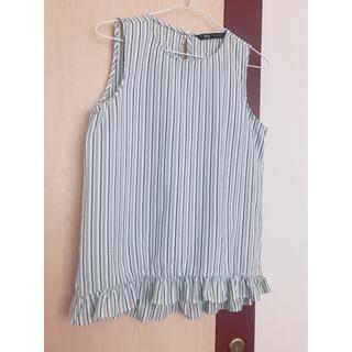 ザラ(ZARA)の新品 ZARA ザラ ノースリーブブラウス ストライプ 裾フリルトップス シャツ(シャツ/ブラウス(半袖/袖なし))