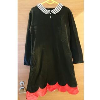 ユニカ(UNICA)のUNICA ユニカ 130サイズ 星形ボタンのスカラップ裾ボーダーワンピース 黒(ワンピース)