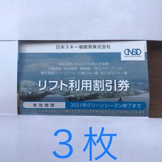 リフト利用割引券 3枚(スキー場)