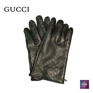 グッチ(Gucci)のGUCCI グッチ レザー グローブ GGモノグラム 手袋 ブラック 黒 中古(手袋)