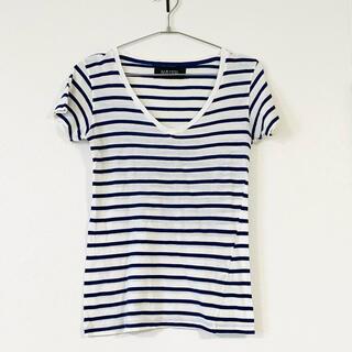 ザラ(ZARA)のZARA ボーダー Vネック 半袖 Tシャツ サイズM相当(Tシャツ(半袖/袖なし))