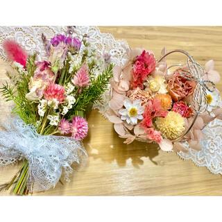 ドライフラワー インテリア2点セット❁¨̮スワッグ 花かご ピンク 薔薇 花束♪(ドライフラワー)