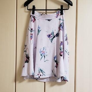 プロポーション(PROPORTION)の美品 プロポーション 人気 花柄フレアスカート 薄紫  きれいめ(ひざ丈スカート)