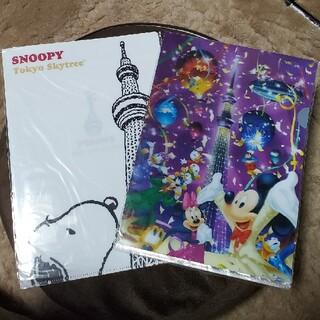 ディズニー(Disney)のディズニー&スヌーピーのスカイツリークリアファイル(クリアファイル)
