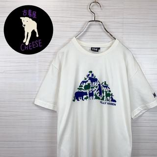 ヘリーハンセン(HELLY HANSEN)の【レア】古着 90s ヘリーハンセン Tシャツ アニマル柄 刺繍ロゴ デカロゴ(Tシャツ/カットソー(半袖/袖なし))