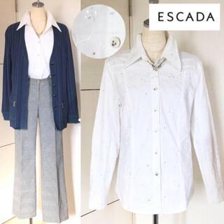 ESCADA - 美品 エスカーダ ラインストーン フラワー刺繍シャツ