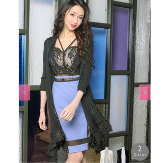 アンディ(Andy)のsobre 美品 プリーツ レース ボレロ カーディガン ソブレ 黒 ドレス(ミニドレス)