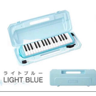 水色  RiZKiZ 鍵盤ハーモニカ 32鍵盤 ケース付き ホース 吹き口付き (ハーモニカ/ブルースハープ)