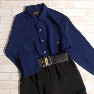 KANGOL - KANGOL ネイビー ワンポイント刺繍 シンプル シャツ 紺色