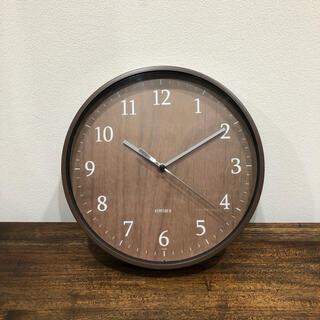 新品 壁掛け時計 クロック 木目柄 ウッディ調 ブラウン(掛時計/柱時計)