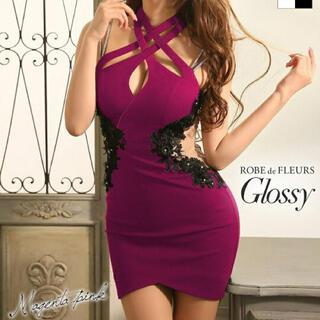 キャバドレス ローブドフルール glossy(ミニドレス)