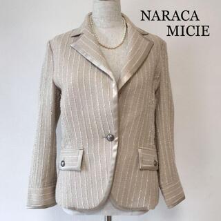 ナラカミーチェ(NARACAMICIE)のナラカミーチェ パールネックレス付 ストライプ ラメ テーラードジャケット(テーラードジャケット)