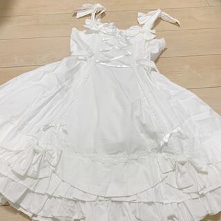 アンジェリックプリティー(Angelic Pretty)のアンジェリックプリティ ジャンパースカート ジャンスカ リボン 純白(ひざ丈ワンピース)