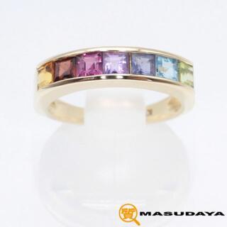 半貴石マルチカラーリングK18YG/3.36g【美品】(リング(指輪))