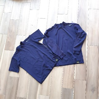 ZETT - ZETT*130*アンダーシャツ*長袖半袖*練習*試合*野球*セット*ネイビー*