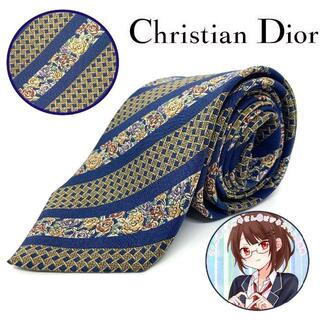 Christian Dior - クリスチャン・ディオールストライプ柄 小花柄 ネクタイネイビー系